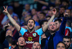 Burnley fans celebrate at the final whistle of the Carabao Cup, Second Round match at Ewood Park, Blackburn.