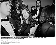 Juliet Hohnen working in the Press pen for M.T.V. at  at  Swifty Lazar's last Oscar Night  Party. Spago's. Los Angeles. March 1993. Film. 93242/5<br />