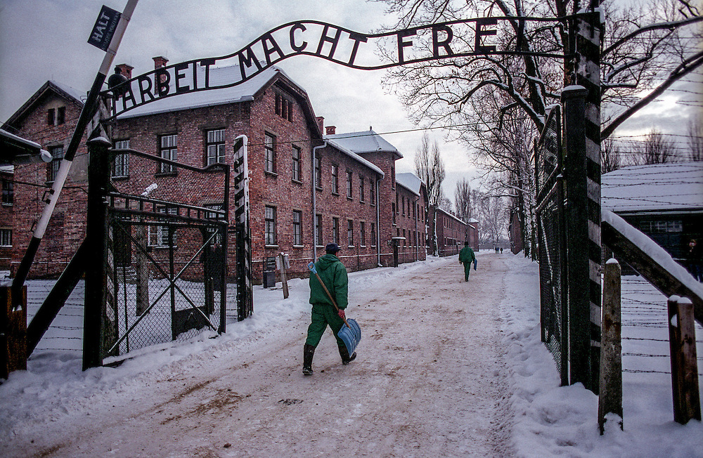 """The words """"Arbeit macht frei"""" (""""Work makes us free"""") over the gate to the Auschwitz Nazi concentration camp. It is estimated that between 1.1 and 1.5 million Jews, Poles, Roma and others were killed here in the Holocaust between 1940-1945."""