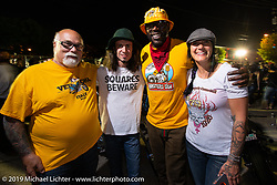 Dave Perewitz' Hamster crew including retired NFL player Ruben Brown at the night of the Trogolytes chopper party before TROG (The Race Of Gentlemen) in Wildwood, NJ. USA. Friday June 8, 2018. Photography ©2018 Michael Lichter.