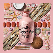 Twin Fin Rum Product photography, shot with ingredients and props relating to the source.