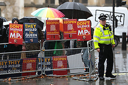 © Licensed to London News Pictures. 24/09/2019. London, UK. Protesters outside the Supreme Court in London where judges will deliver their verdict on the legality of Prime Minister Boris Johnson's suspension of Parliament. Photo credit: Rob Pinney/LNP