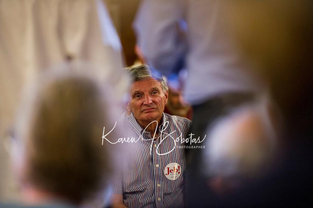 Jeb Bush at Laconia VFW Hall.  Karen Bobotas for the Laconia Daily Sun