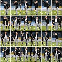 The Netherlands, Eindhoven, 03-10-2014.<br /> Football, National, Competition, Jupiler League.<br /> FC Eindhoven vs RKC Waalwijk : 2-0.<br /> In chronologic order ( starting top left ) the activities of Martin Koopman, de trainer/coach of RKC Waalwijk, during the match.<br /> Photo : Klaas Jan van der Weij