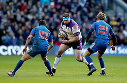 Scotland's Simon Berghan (centre) in action during the NatWest 6 Nations match at BT Murrayfield, Edinburgh.