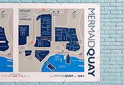 Map of business and facilities in Mermaid Quay, Cardiff Bay redevelopment, Cardiff, South Wales, UK