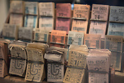 Old bus tickets on open day at Wythall Transport Museum on May 1st 2017 in Wythall, England, United Kingdom. The Transport Museum, Wythall is a transport museum just outside Birmingham, at Wythall, Worcestershire.The museum is run by the charity The Birmingham and Midland Motor Omnibus Trust BaMMOT. The museum has three halls, presenting a significant collection of preserved buses and coaches, including Midland Red and Birmingham City Transport vehicles. It is also home to the Elmdon Model Engineering Society EMES who operate the Wythall miniature railway within the grounds of the transport museum, giving rides to public on miniature steam trains.