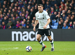 March 31, 2018 - London, Greater London, United Kingdom - Liverpool's James Milner.during the Premiership League  match between Crystal Palace and Liverpool at Wembley, London, England on 31 March 2018. (Credit Image: © Kieran Galvin/NurPhoto via ZUMA Press)