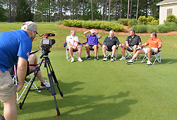 Notre Dame head football coach Brian Kelly, Clemson  head football coach Dabo Swinney North Carolina head football coach Mack Brown Ole Miss head football coach Matt Luke and Florida head football coach Dan Mullen  during the Chick-fil-A Peach Bowl Challenge Closest to the Pin Skills Competition at the Ritz Carlton Reynolds, Lake Oconee, on Monday, April 29, 2019, in Greensboro, GA. (Dale Zanine via Abell Images for Chick-fil-A Peach Bowl Challenge)