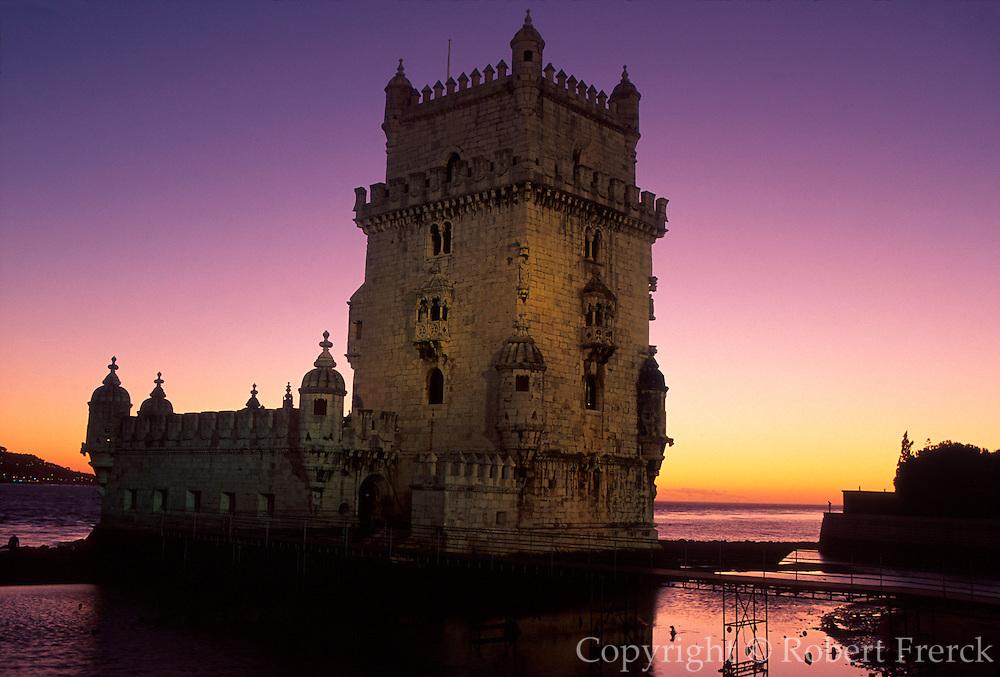 PORTUGAL, LISBON, BELEM, Torre de Belem; castle on harbor