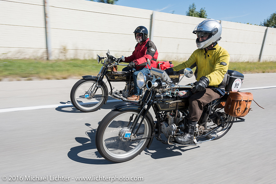 Byrne Bramwell (L) of Ontario, Canada riding his 4-cylinder 1913 Henderson class-2 bike next to Brian Pease of New York riding his 4-cylinder 1916 Henderson during the Motorcycle Cannonball Race of the Century. Stage-4 from Chillicothe, OH to Bloomington, IN. USA. Tuesday September 13, 2016. Photography ©2016 Michael Lichter.