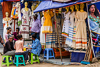 Traditional habesha kemis dresses in the market, Addis Ababa, Ethiopia.