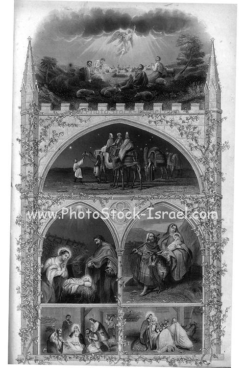 Nativity Scene for Christmas from Godey's Lady's Book and Magazine, December 1864, Volume LXIX, (Volume 69), Philadelphia, Louis A. Godey, Sarah Josepha Hale,