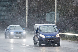 © Licensed to London News Pictures. 21/01/2018. Uxbridge, UK. Traffic makes it's way through snowfall on the A40 near Uxbridge in West London, as large parts of the UK are blanketed in freezing weather conditions.. Photo credit: Ben Cawthra/LNP