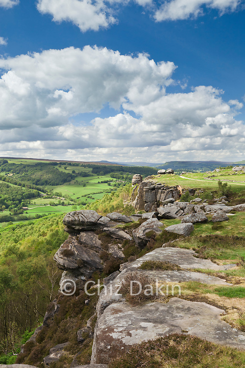 View from the south end of Froggatt Edge over the Derwent Valley and towards the distant Froggatt Pinnacle