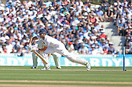 Captain Alastair Cook of England plays defensive during the 3rd day of the Investec Ashes Test match between England and Australia at the Oval, London, United Kingdom on 22 August 2015. Photo by Phil Duncan.