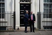 US National Security Adviser, John Bolton is greeted by the Chancellor of the Exchequer Sajid Javid at Downing Street in London, United Kingdom on 13th August 2019.