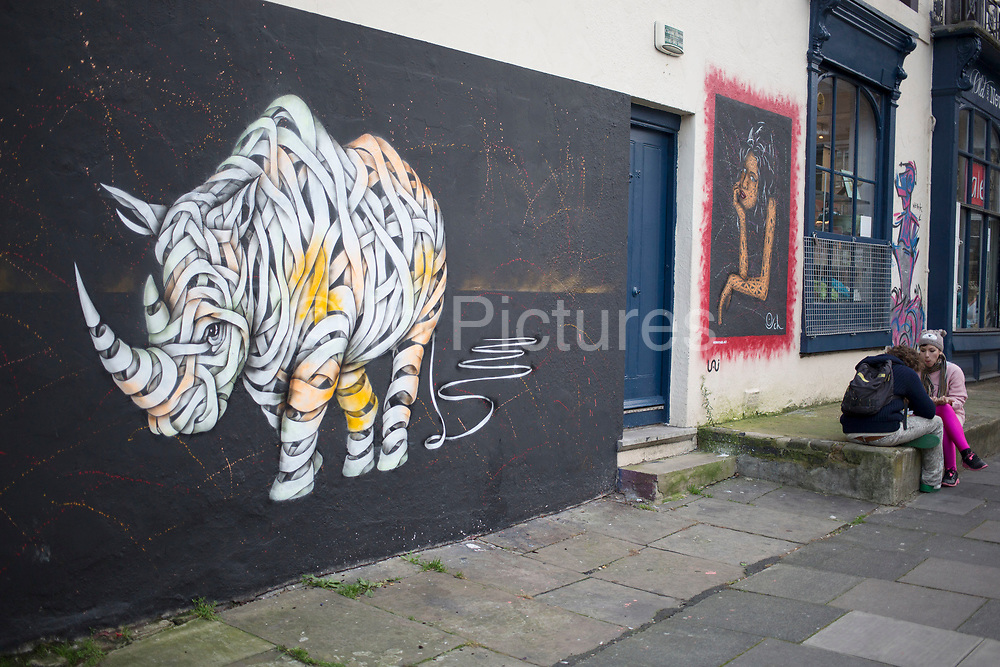 Rhino street art in Camden Town, London, UK. Graffiti in it's most creative sense is popping up all over London and has become part of the urban landscape.