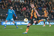 Sam Clucas (Hull City) takes a shot, but it is saved during the Sky Bet Championship match between Hull City and Wolverhampton Wanderers at the KC Stadium, Kingston upon Hull, England on 15 April 2016. Photo by Mark P Doherty.
