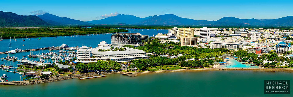 An aerial photograph, taken from a helicopter, of Cairns and Trinity Inlet.<br /> <br /> Limited Edition of 125