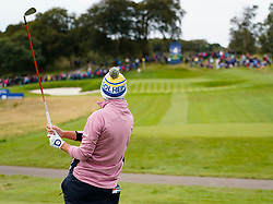 Auchterarder, Scotland, UK. 14 September 2019. Saturday morning Foresomes matches  at 2019 Solheim Cup on Centenary Course at Gleneagles. Pictured; Carlota Ciganda of Europe tee shot on short 4th hole.  Iain Masterton/Alamy Live News