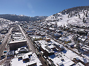 SHOT 3/2/17 11:21:49 AM - Aerial photos of Park City, Utah. Park City lies east of Salt Lake City in the western state of Utah. Framed by the craggy Wasatch Range, it's bordered by the Deer Valley Resort and the huge Park City Mountain Resort, both known for their ski slopes. Utah Olympic Park, to the north, hosted the 2002 Winter Olympics and is now predominantly a training facility. In town, Main Street is lined with buildings built primarily during a 19th-century silver mining boom that have become numerous restaurants, bars and shops. (Photo by Marc Piscotty / © 2017)