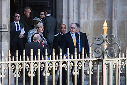 Westminster Abbey, London, March 14th 2016.  Her Majesty The Queen, Head of the Commonwealth, accompanied by The Duke of Edinburgh, The Duke and Duchess of Cambridge and Prince Harry attend the Commonwealth Service at Westminster Abbey on Commonwealth Day. PICTURED: Former British Prime Minister John Major in the yellow tie, leaves Westminster Abbey following the service.