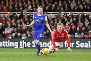 Middlesbrough midfielder George Saville (22) goes down in the box, no penalty,  during the EFL Sky Bet Championship match between Middlesbrough and Ipswich Town at the Riverside Stadium, Middlesbrough, England on 29 December 2018.
