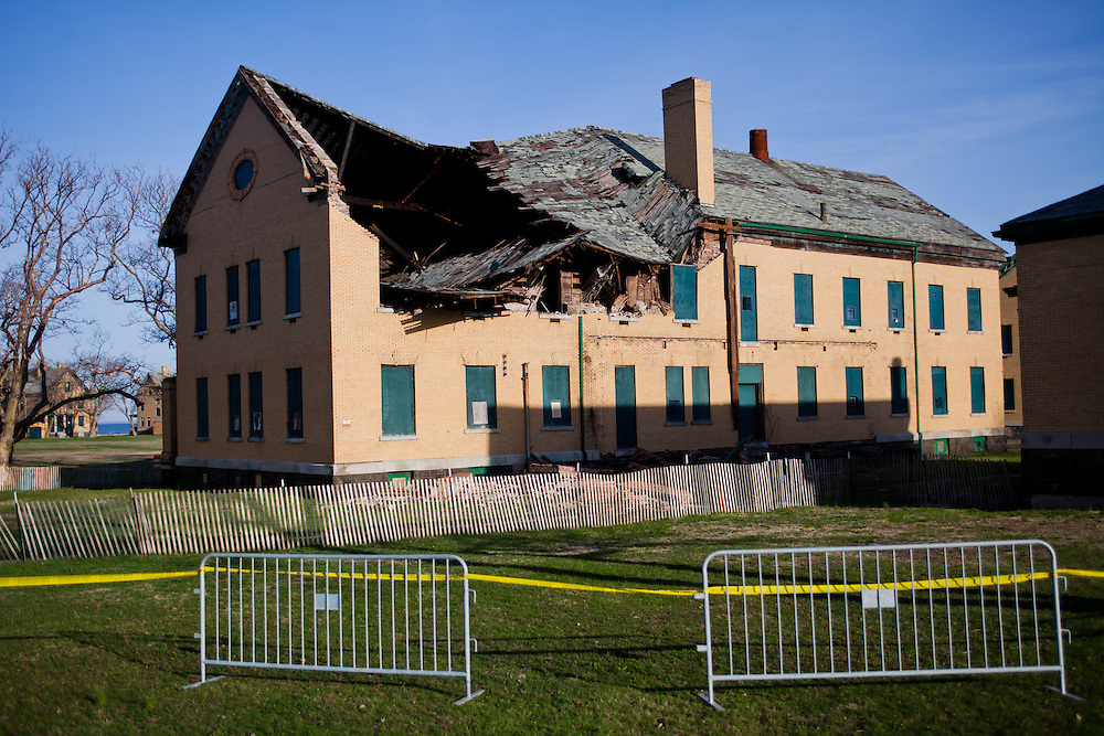 The roof on building 23 at Fort Hancock at Sandy Hook is shown Friday, April 17, 2015, after it collapsed overnight. Park officials said that this building had served as a barracks and was unoccupied for many years