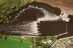 Aerial view of Beeston lock and weir, The new hydroelectric scheme is being built to the left of the weir,