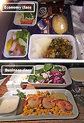 Airline Food: Economy Vs. First Class <br /> <br /> What used to be a woman's size 12 in 1968 is a woman's size 4 today; what used to be third-class is economy-class today. What changed? We've grown more sensitive: I'm not overweight, I still fit into a size 12. I'm not a third-class passenger, I'm a price conscious individual that rides in economy-class.<br /> Despite the name games, airline food hasn't changed much. Economy class meals still come in a wrapper, and business or first-class meals come with real cutlery. This list shows the sometimes striking difference between what the different classes eat.<br /> <br /> Photo shows: Delta Airlines<br /> ©Exclusivepix Media