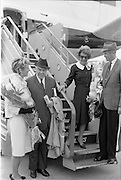 31/07/1962<br /> 07/31/1962<br /> 31 July 1962<br /> Arrival of Mr F. Kirk Johnston, Chairman, Ambassador Oil Corporation and President of Ambassador Irish Oil Company and James Stewart actor and Ambassador shareholder, at Dublin Airport. Mrs Stewart, Mr Johnston, Mrs Johnston and Mr Stewart disembarking at the airport.