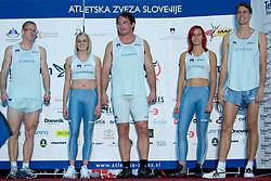 Matic Osovnikar, Sabina Veit, Primoz Kozmus, Nina Kolaric, Rozle Prezelj at fashion show of new jerseys of Slovenian Athletic National Team, on October 28, 2008, in Mercator center Siska, Ljubljana, Slovenia. (Photo by Vid Ponikvar / Sportal Images).