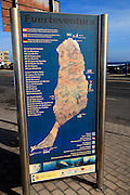 Map of island showing diving sites, Corrajelo, Fuerteventura, Canary Islands, Spain