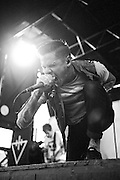The Devil Wears Prada performing on Warped Tour at Verizon Wireless Amphitheater in St. Louis, Missouri on August 3, 2011. © Todd Owyoung.