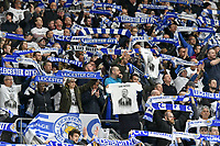 Football - 2018 / 2019 Premier League - Cardiff City vs. Leicester City<br /> <br /> Leicester fans celebrate their 1st goal in Leicster's 1st match since the death of Vichai Srivaddhanaprabha, at Cardiff City Stadium.<br /> <br /> COLORSPORT/WINSTON BYNORTH