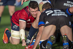 December 9, 2018 - Limerick, Ireland - Peter O'Mahony of Munster looks at his rival during the Heineken Champions Cup Round 3 match between Munster Rugby and Castres Qlympique at Thomond Park Stadium in Limerick, Ireland on December 9, 2018  (Credit Image: © Andrew Surma/NurPhoto via ZUMA Press)