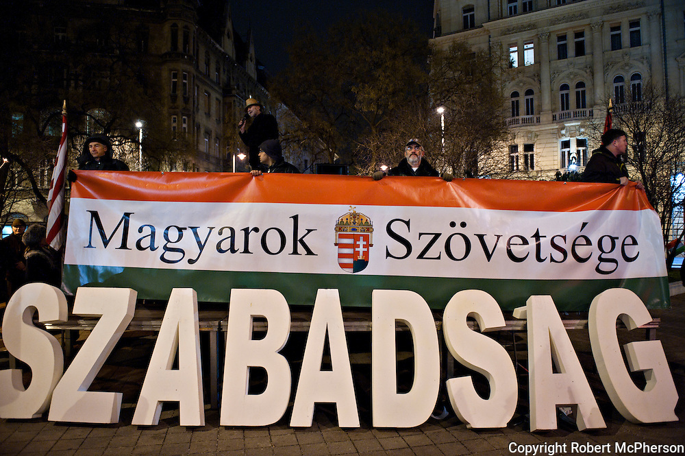 Right-wing demonstration in Budapest, Hungary. Over 100 000 showed up at Heroes square to show their support to politician Victor Orban.