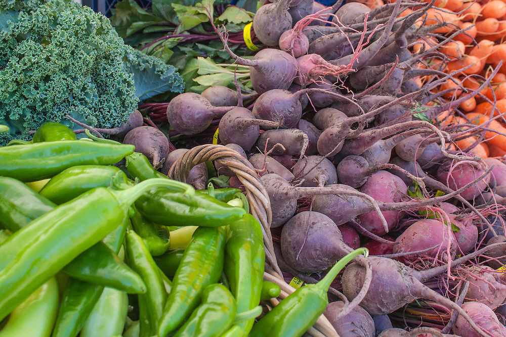 North America, United States, Washington, Bellevue, organic vegetables (peppers, turnips, kale and carrots) at Farmers Market