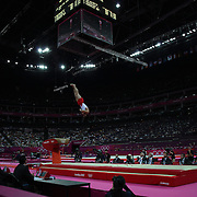 Hak Seon Yang, Korea, in action winning the Gold Medal  in the Gymnastics Artistic, Men's Apparatus, Vault Final at the London 2012 Olympic games. London, UK. 6th August 2012. Photo Tim Clayton