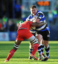 David Wilson of Bath Rugby takes on the Toulouse defence - Photo mandatory by-line: Patrick Khachfe/JMP - Mobile: 07966 386802 25/10/2014 - SPORT - RUGBY UNION - Bath - The Recreation Ground - Bath Rugby v Toulouse - European Rugby Champions Cup
