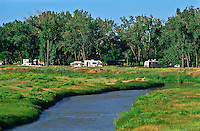 Campground at Devils Tower National Monument along the Belle Fourche River.  Wyoming.