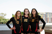 10 August 2010:  Senior players on the Pac-10 NCAA College Women's Volleyball team for the USC Trojans Women of Troy photographed at the Galen Center on Campus in Southern California.  #2 Geena Urango, Zoe Garrett and Kimmee Roleder. .Images are for Personal use only.  No Model Release, No Property Release, No Commercial 3rd Party use. .Photo Credit should read: ©2010ShellyCastellano.com