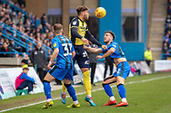 Scunthorpe United forward Kyle Wootton (29) and Gillingham FC defender Luke O'Neill (2) during the EFL Sky Bet League 1 match between Gillingham and Scunthorpe United at the MEMS Priestfield Stadium, Gillingham, England on 16 February 2019.
