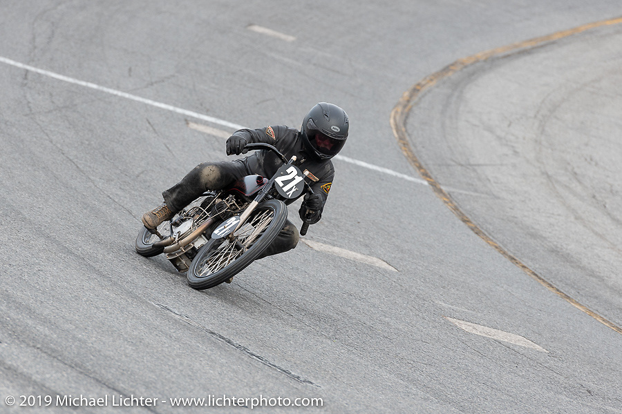 Michael Lange racing in the Sons of Speed Vintage Motorcycle Races at New Smyrina Speedway. New Smyrna Beach, USA. Saturday, March 9, 2019. Photography ©2019 Michael Lichter.
