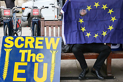 © Licensed to London News Pictures. 27/03/2019. London, UK. An anti-Brexit demonstrator with an EU flag and a placard protests outside the Houses of Parliament. Later today the MPs will votes on series of indicative votes on alternatives to Prime Minister Theresa May's Brexit deal. Photo credit: Dinendra Haria/LNP