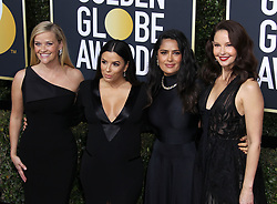 75th Annual Golden Globes. 07 Jan 2018 Pictured: Reese Witherspoon, Eva Longoria, Ashley Judd, Selma Hayek. Photo credit: MEGA TheMegaAgency.com +1 888 505 6342