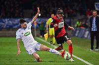 Dorian LEVEQUE / Ruben AGUILAR - 07.04.2015 -  Auxerre / Guingamp - 1/2Finale de Coupe de France<br />Photo : Dave Winter / Icon Sport
