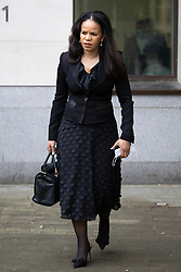 © Licensed to London News Pictures. 16/03/2021. London, UK. MP Claudia Webbe(Centre) walks outside Westminster Magistrates Court .She is charged with one count of harassment and the trial is expected to last for one day.  Photo credit: George Cracknell Wright/LNP