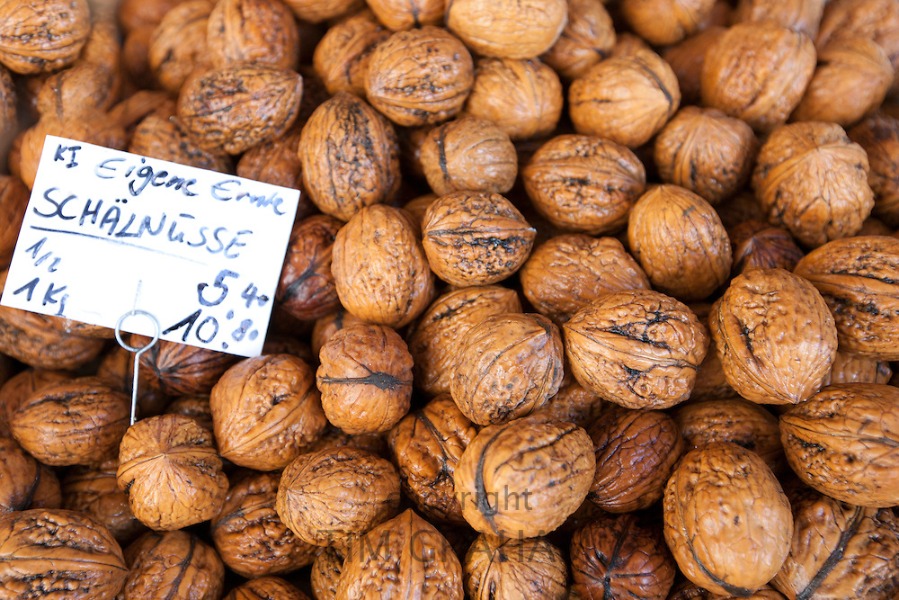 Fresh walnuts on sale in food market at Viktualienmarkt in Munich, Bavaria, Germany